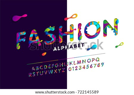 Fashion stylized alphabet with colorful carved paper cut elements shapes. Vector illustration