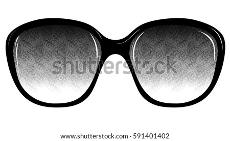 Stock Photo Fashion Sunglasses on White Background Isolated. Sketch of Fantasy Glasses with Printed Lenses. Vector Illustration. Vintage Accessories. Retro Style Design. Freehand Drawing of a Cat Eye Sunglasses.