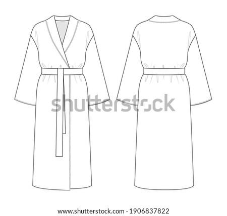Fashion technical drawing of bathrobe or coat robe ストックフォト ©