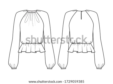 fashion technical drawing of