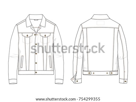 Fashion technical sketch of denim jacket in vector graphic
