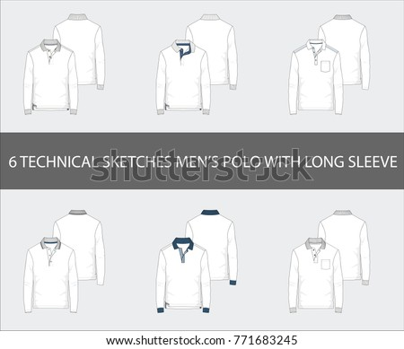 Fashion technical sketches set of men's Short Long Polo Shirts in vector.
