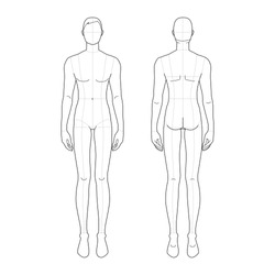 Fashion template of standing men. 9 head size for technical drawing with main lines. Gentlemen figure front and back view. Vector outline boy for fashion sketching and illustration.