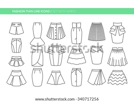 fashion thin line icons set