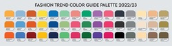 Fashion Trend Color guide palette 2022-23. An example of a color palette vector. Forecast of the future color. Color palette for fashion designers, fashion business, garments, and paints companies