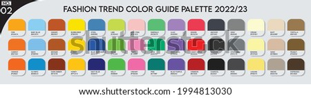 Fashion Trend Color guide palette 2022-23 no.02. An example of a color palette vector. Forecast of the future color. color palette for fashion designers, business, garments, and paints colors company