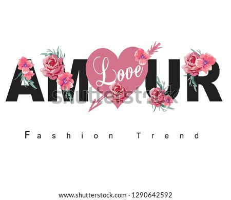 fashion trend,for t-shirt slogan, Amour phrase graphic vector Print Fashion lettering - Vektör