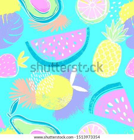 Fashion tropics funny wallpapers. Seamless pattern with watermelon, strawberries and oranges on blue background. Bright summer fruits illustration. Fruit mix design for fabric and decor
