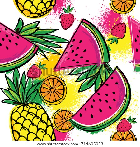 Fashion tropics funny wallpapers. Seamless pattern with yellow pineapples, juicy strawberries and oranges on white background. Bright summer fruits illustration. Fruit mix design for fabric and decor.