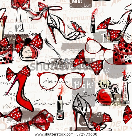 Fashion vector background with female on a high heels glasses bags red lipstick and perfumes
