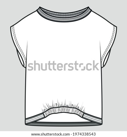 Fashion vector illustration for girls. Girls clothing design template. Fashion technical drawing. T shirt flat sketch FOR GIRLS. Technical drawing of fashion t shirts for girls