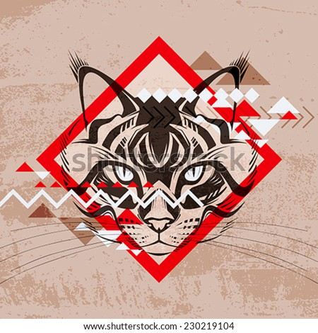 Fashion vector illustration of a cat's head