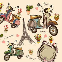 Fashion vector pattern with hand drawn bike, Eifel tower, flowers and othe
