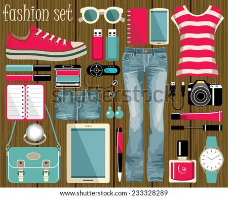 fashion vector set in a style