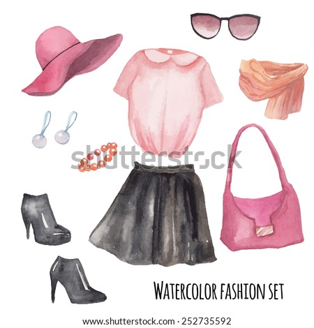 fashion wardrobe objects set