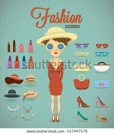 Fashion Woman and accessories. Vector illustration