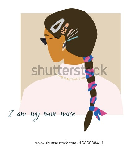 Fashion woman backside portrait  in warm sweater, trendy pigtail and accessories .  Stylish earrings and glasses. Own muse text. Vector illustration for print, t-shirt design, poster, banner, tote bag