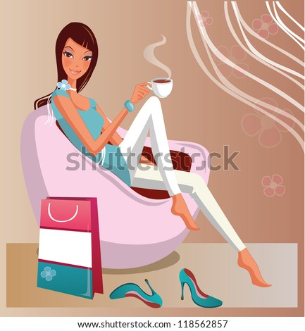 fashion woman drinking coffee while sitting in the chair