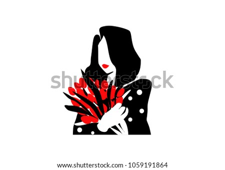 fashion woman flowers black and