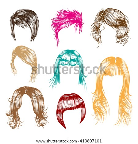 fashion woman hairstyle set