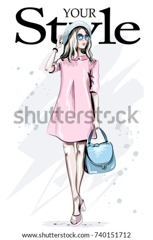 Fashion woman in hat and sunglasses. Hand drawn stylish woman in pink dress. Beautiful young lady in fashion clothes. Sketch.