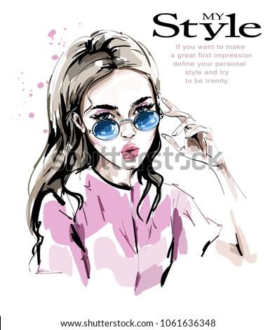 Fashion woman in sunglasses. Stylish beautiful young woman. Fashion look. Sketch.