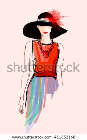 fashion woman model with a