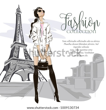 fashion woman near eiffel tower