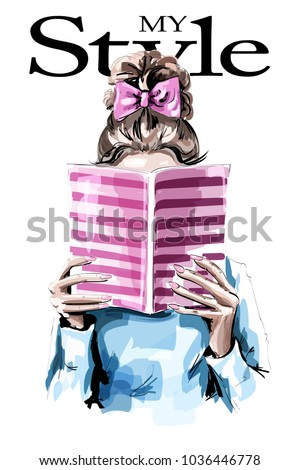 fashion woman reading book