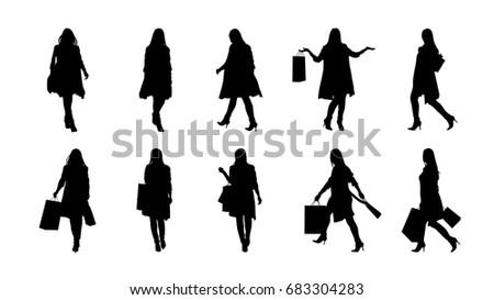 fashion woman silhouette set