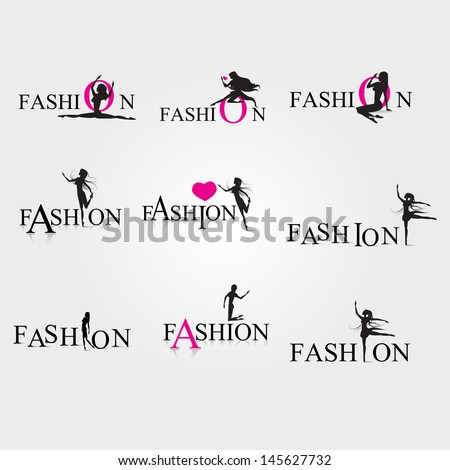 Fashion Woman Silhouette Set Isolated On Gray Background Vector Illustration Graphic Design Editable For Your Design Fashion Logo