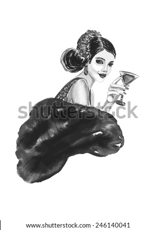 fashion woman with cocktail  in