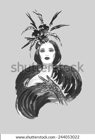 Fashion woman with stylish hat in black and white color