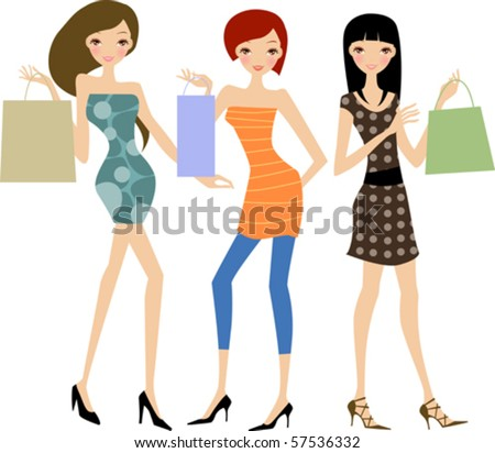 Fashion women at the shopping - stock vector