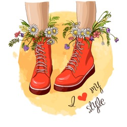 Fashion women red boots with bouquet flower. Hand drawn sketch. Vector illustration. Slogan