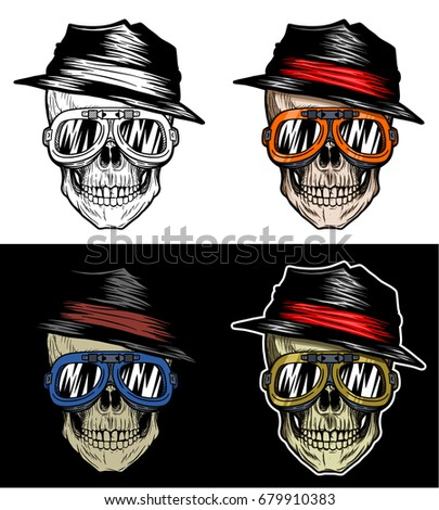 fashionable biker skull with