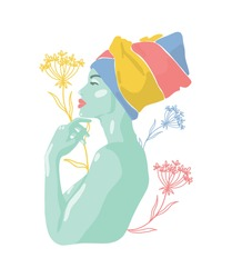 Fashionable bright modern portrait of African woman in minimalistic, abstract style. Face drawing. In bright colors, flowers. Hand drawn beauty concept illustration, print, poster, postcard, decor.