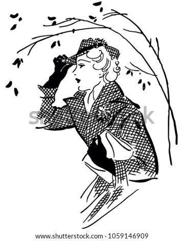 Fashionable Gal - Retro Clip Art Illustration