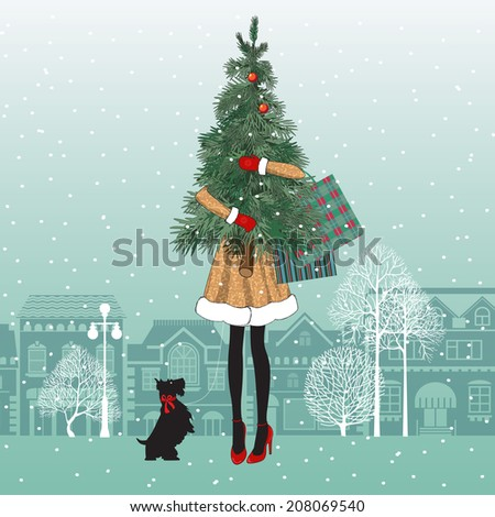 fashionable girl with dog holds