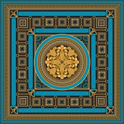 Fashionable golden chains, blue belts and straps, jewelry accessories, cables, ropes pattern on a black background. Baroque silk shawl textile print, Batik fashion ornament, meander bandana border