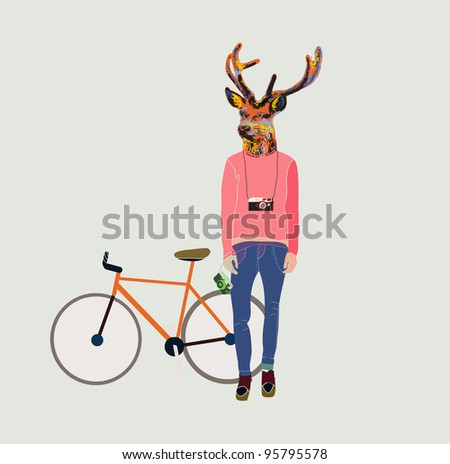 Fashionable hipster deer - stock vector