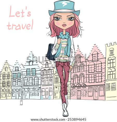 fashionable hipster girl