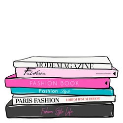 Fashionable illustration with stack of books and fashion magazines. Vogue and Beauty style. Fashion vector fashion illustration design. Hand drawn sketch. Fashion. Set of trend book in doodle style.