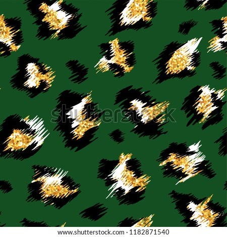 Fashionable Leopard Seamless Pattern. Stylized Spotted Leopard Skin Background with Golden Glitter for Fashion, Print, Wallpaper, Fabric. Vector illustration