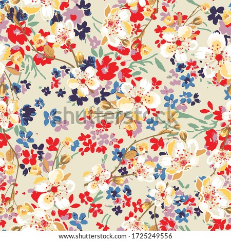 Fashionable pattern in small flowers. Floral background for textiles. Liberty style. fabric, covers, manufacturing, wallpapers, print, gift wrap.