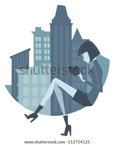 fashionable reading girl, vector background with image of young woman and city