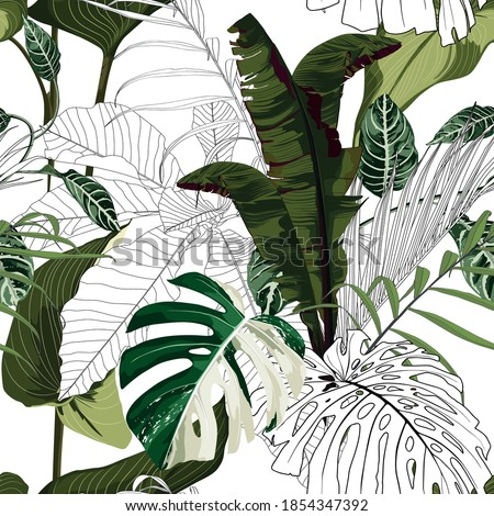 Fashionable seamless tropical pattern with tropical bananas monstera leaves on a delicate background. Beautiful exotic plants. Trendy summer Hawaii print. Line stylish floral.