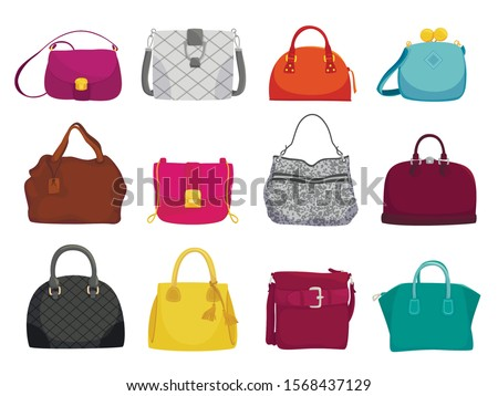 Fashionable woman bags flat vector illustrations set. Female accessories, elegant purses isolated on white background. Different stylish leather and suede bags, trendy casual style handbags ストックフォト ©