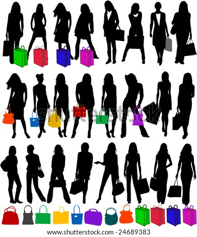 stock vector : Fashionable woman silhouettes , vector work