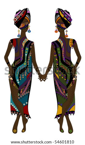 stock vector : Fashionable women in ethnic style on a white background